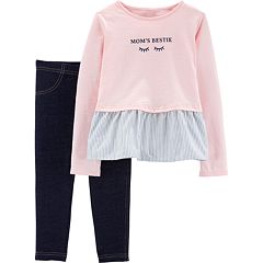 Toddler Girl Carter's 'Mom's Bestie' Eyelash Graphic Top & Jeggings Set
