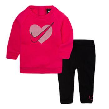 Baby Girl Nike Logo Sweatshirt & Leggings Set