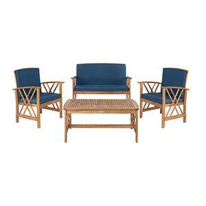Safavieh Fontana Indoor / Outdoor Loveseat, Chair & Coffee Table 4-piece Set
