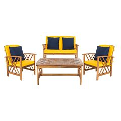 Safavieh Fontana Indoor / Outdoor Loveseat, Chair & Coffee Table 4-piece Set