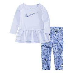Baby Girl Nike Peplum-Hem Tunic & Print Leggings Set