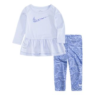 Baby Girl Nike Peplum-Hem Tunic & Print Leggings Set