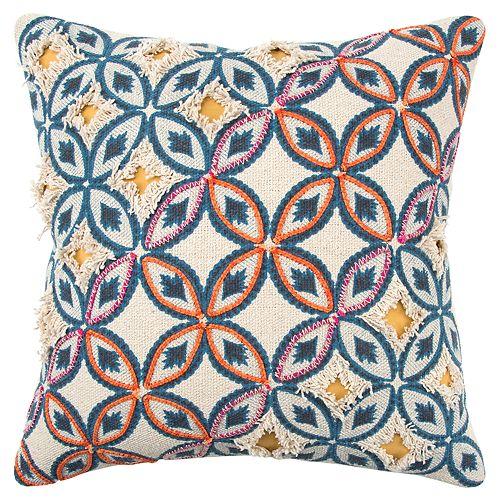 Rizzy Home Orange Stripe Transitional Throw Pillow