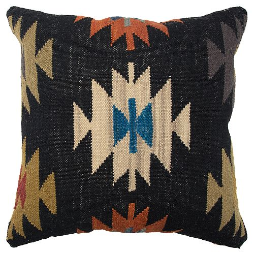 Rizzy Home Black Geometric Transitional Throw Pillow