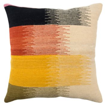 Rizzy Home Yellow Stripe Transitional Throw Pillow