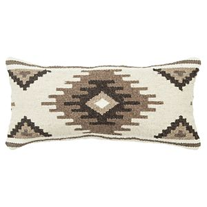 Rizzy Home Biege Geometric Transitional Oblong Throw Pillow