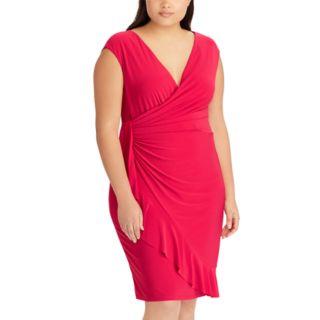 Plus Size Chaps Ruffled Faux-Wrap Dress
