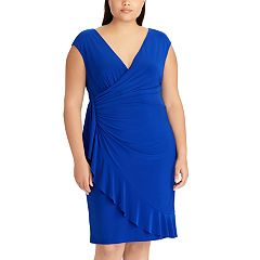 Plus Size Chaps Ruffled Faux-Wrap Dress