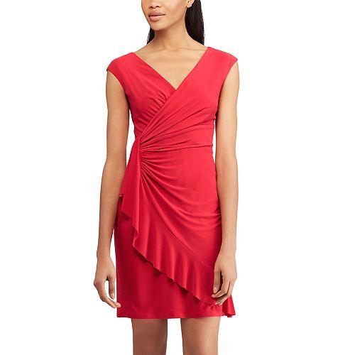 Women's Chaps Ruffled Faux-Wrap Dress