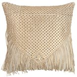 Rizzy Home Gold Macrame Transitional Throw Pillow