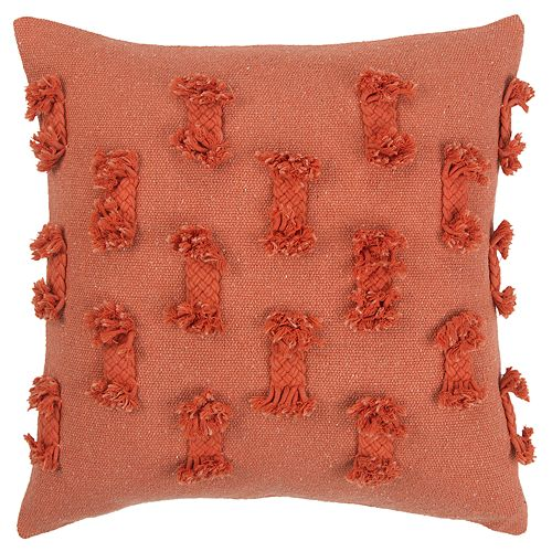 Rizzy Home Orange Abstract Stripe Transitional Throw Pillow