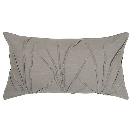 Rizzy Home Gray Textured Solid Transitional Oblong Throw Pillow