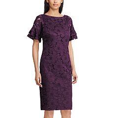 Women's Chaps Lace Ruffle-Sleeve Sheath Dress
