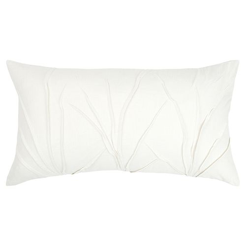 Rizzy Home White Textured Solid Transitional Oblong Throw Pillow