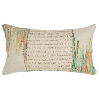 Rizzy Home Beige Abstract Stripe Transitional Oblong Throw Pillow