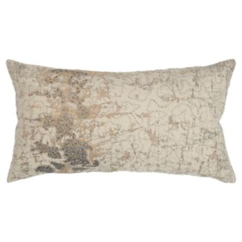 Rizzy Home Beige Abstract Transitional Oblong Throw Pillow