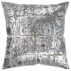 Rizzy Home Silver Abstract Transitional Throw Pillow