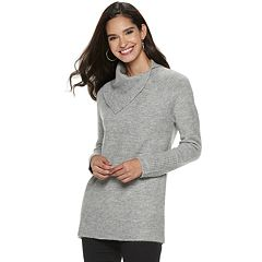 Women's Apt. 9® Cozy Asymmetrical Mockneck Tunic Sweater