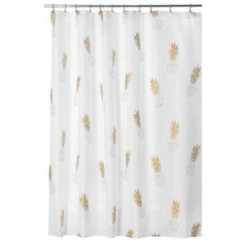 Interdesign Gold Pineapple Shower Curtain