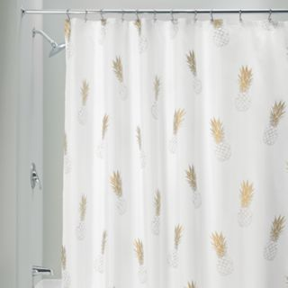 Interdesign Gold Pineapple Shower Curtain