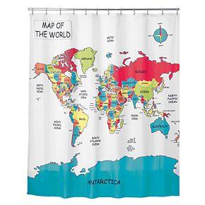 Interdesign World Map Shower Curtain