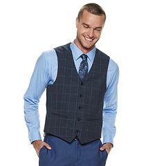 Men's Savile Row Modern-Fit Blue Windowpane Vest