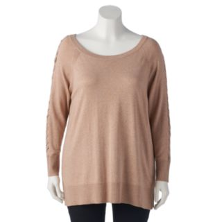 Plus Size LC Lauren Conrad Lace-Up Sleeve Tunic Sweater