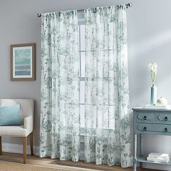 Floral Bella 1-Panel Sheer Textured Window Curtain