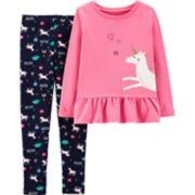 "Girls 4-8 Carter's Unicorn Peplum-Hem Sweatshirt & ""Believe"" Leggings Set"