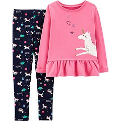 Girls 4-8 Carter's Unicorn Peplum-Hem Sweatshirt & 'Believe' Leggings Set