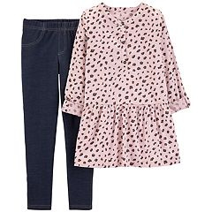 Girls 4-8 Carter's Cheetah Peplum-Hem Henley & Jeggings Set