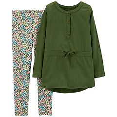 Girls 4-8 Carter's Henley Tunic & Floral Leggings Set