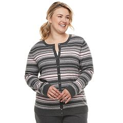 Plus Size Croft & Barrow® Print Extra Cozy Cardigan