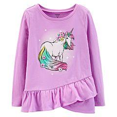 Girls 4-14 Carter's Unicorn Ruffled-Hem Tee