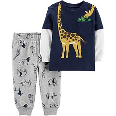 Baby Boy Carter's Wrap Around Giraffe Mock Layer Tee & Animal Jogger Pants