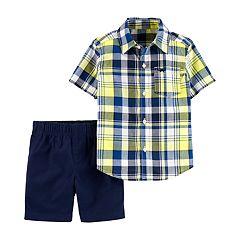 Baby Boy Carter's Plaid Shirt & Chino Shorts Set