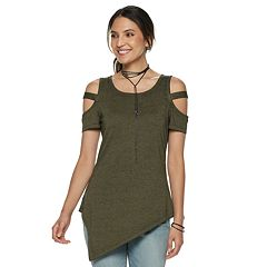 Women's Rock & Republic® Asymmetrical Hem Cold Shoulder Top