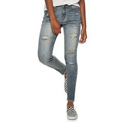 Juniors' Mudd® Low-Rise Destructed Jeggings