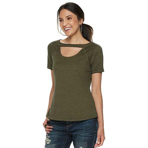 Women's Rock & Republic® Keyhole Front Short Sleeve Top