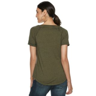 Women's Rock & Republic® Keyhole Front Short Sleeve Top