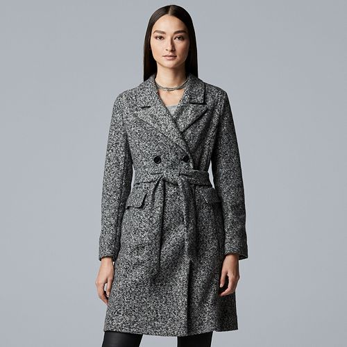 Women's Simply Vera Vera Wang Marled Double-Breasted Trench Coat