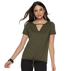Women's Rock & Republic® Cutout Tie Front Tee
