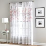 Window Curtainworks 1-Panel Waterfloral Bloom Sheer Window Curtain