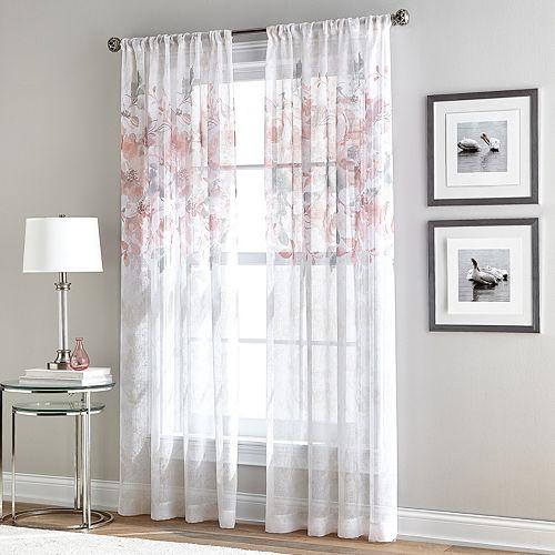 Window Curtainworks 1-Panel Waterfloral Bloom Sheer Window Curtain