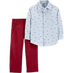 Toddler Boy Carter's Embroidered Chambray Shirt & Pants Set