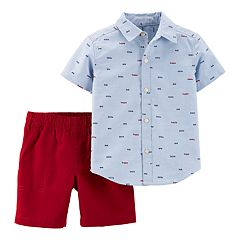 Toddler Boy Carter's Embroidered Chambray Shirt & Shorts Set