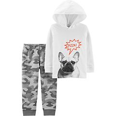 Toddler Boy Carter's 'Pizza!' French Bulldog Hoodie & Camo Pants Set