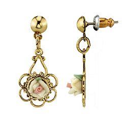 1928 Gold Tone Porcelain Rose Drop Earrings