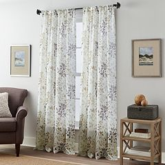 Fall Foliage 1-Panel Crushed Voile Window Curtain
