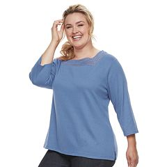 Plus Size Croft & Barrow® Crochet Top